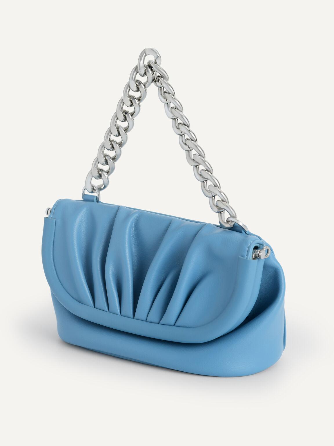 Mini Draped Shoulder Bag, Cyan, hi-res