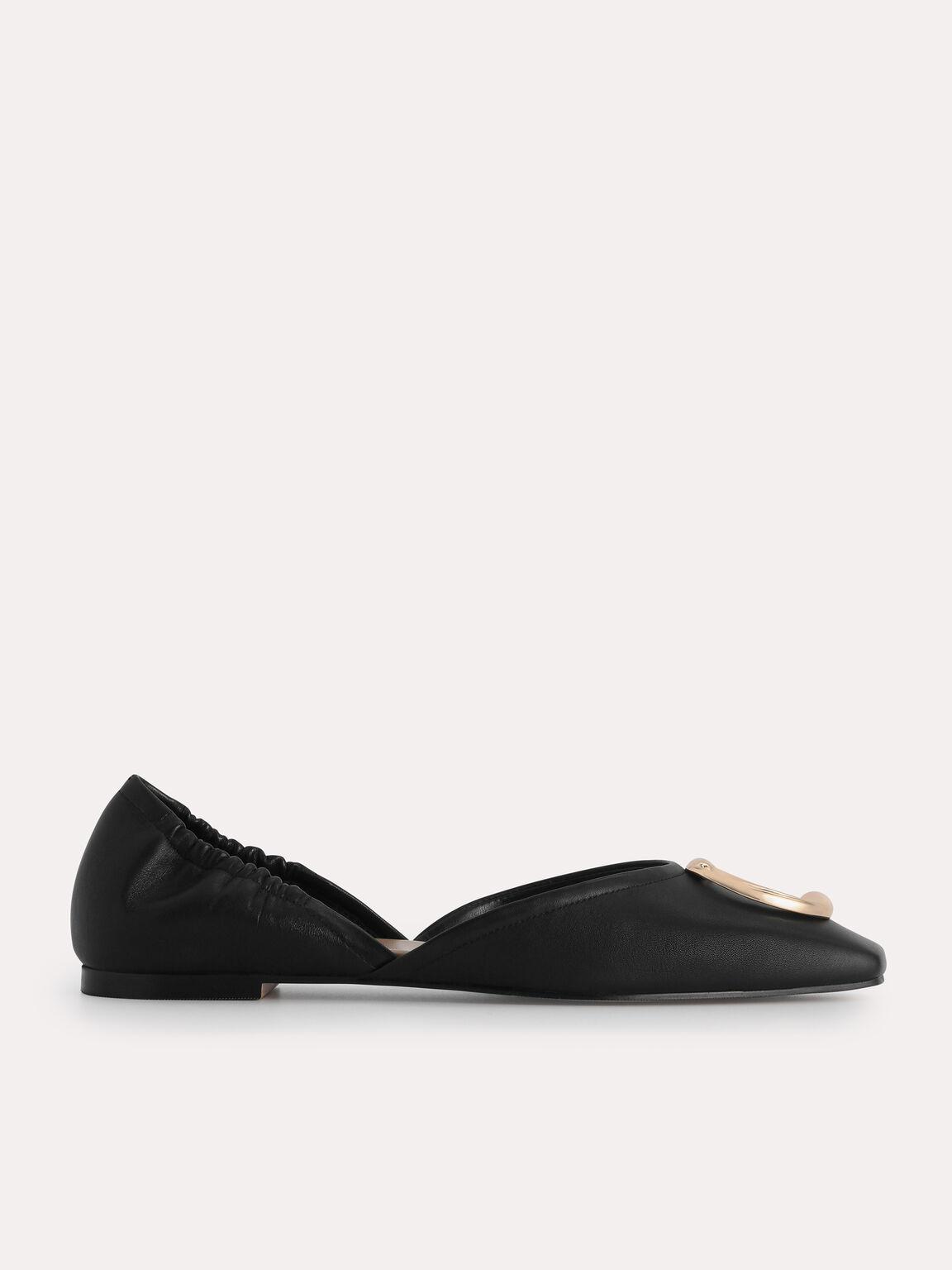Leather Flats, Black, hi-res