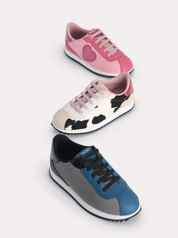 Colour Blocking Sneakers, Dark Grey, hi-res