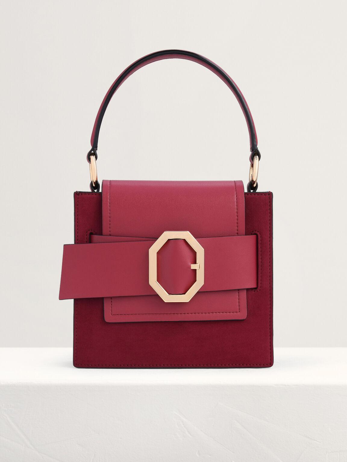 Buckled Top Handle Structured Bag, Wine, hi-res