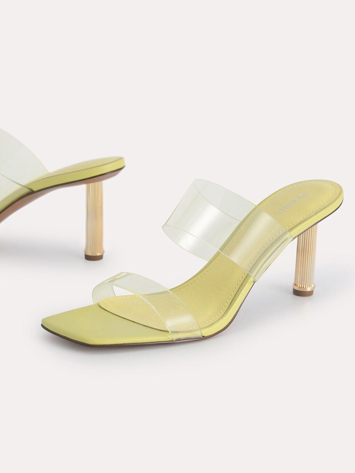 Transparent Square-Toe Pumps, Yellow, hi-res