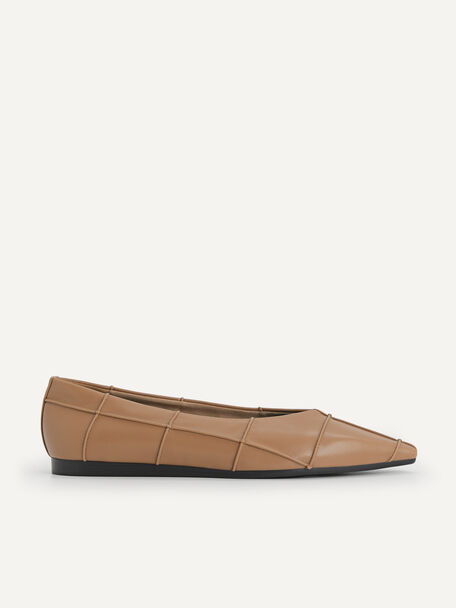 Pointed Toe Flats, Brown, hi-res