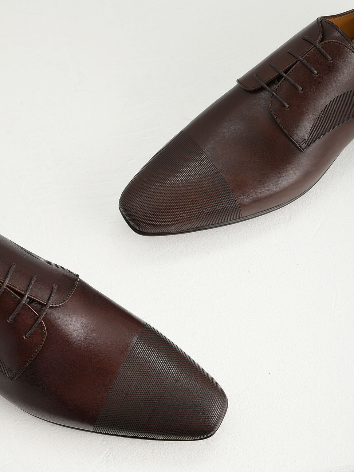 Textured Leather Derby Shoes, Light Brown, hi-res