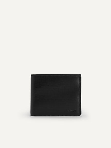 Textured Leather Wallet with Insert, Black, hi-res