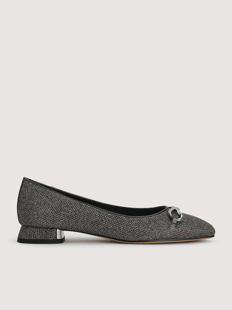Bedazzled Leather Pumps, Pewter, hi-res
