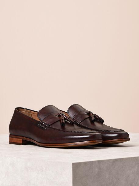 Leather Tassel Loafers, Dark Brown, hi-res