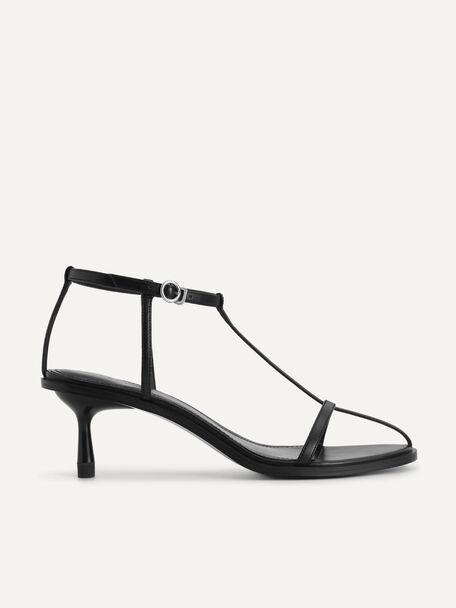 Ankle-Strap Heeled Sandals, Black, hi-res