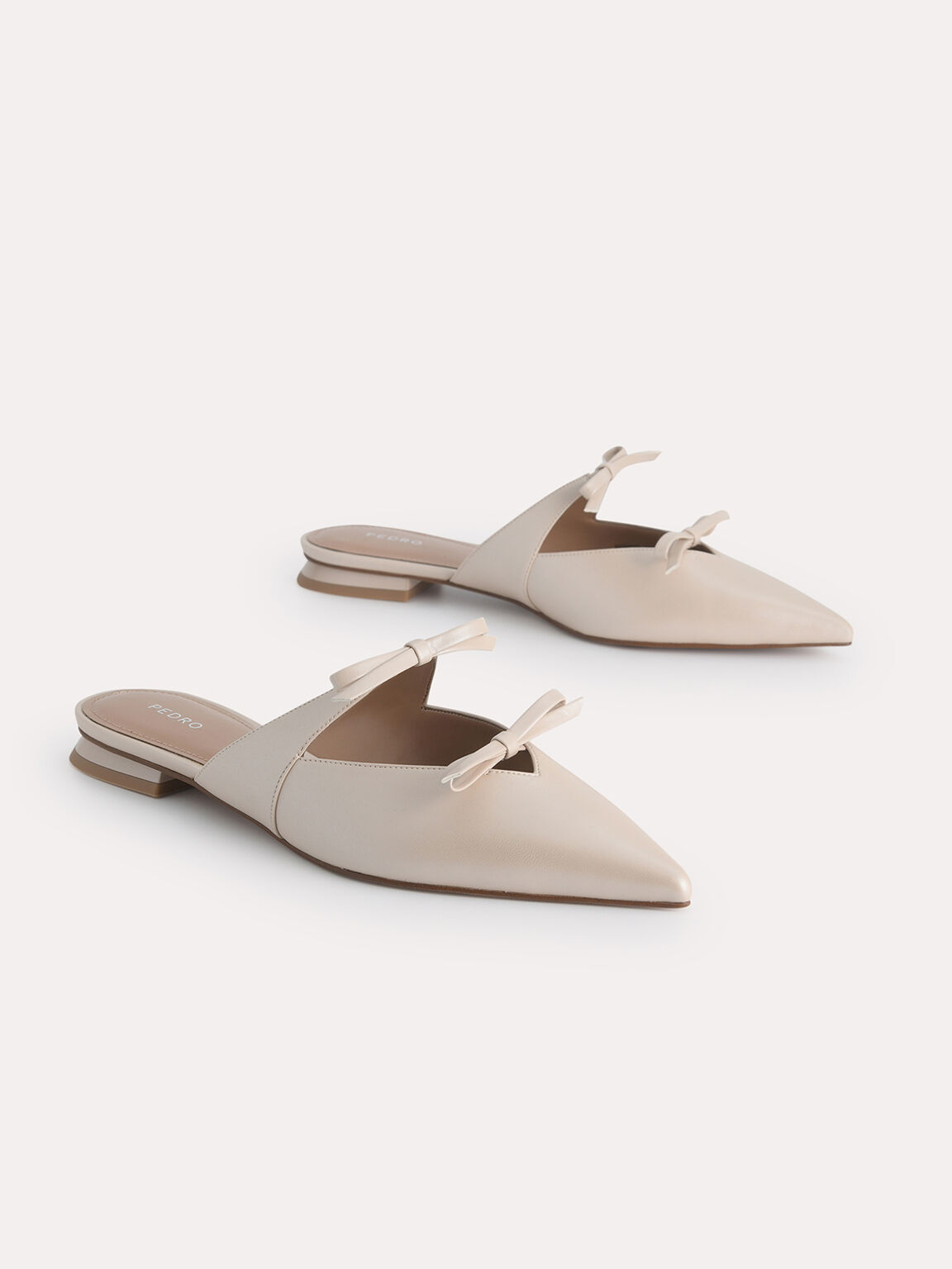 Pearlised Double Bow Mules, Nude, hi-res