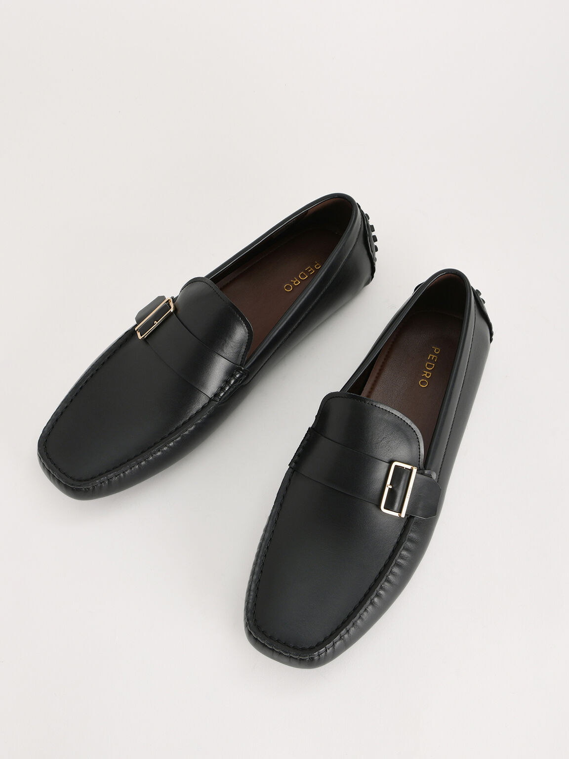 Buckled Leather Moccasin, Black, hi-res