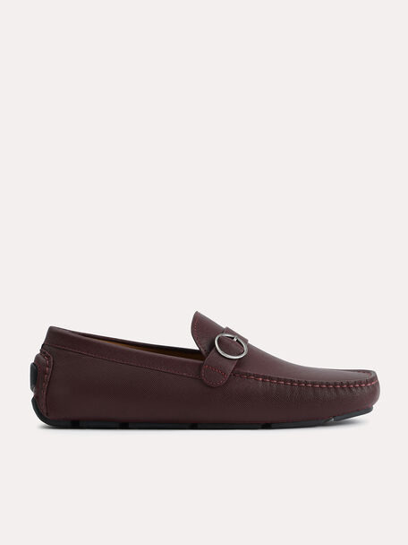 Textured Leather Moccasins with Buckle Detailing, Maroon, hi-res