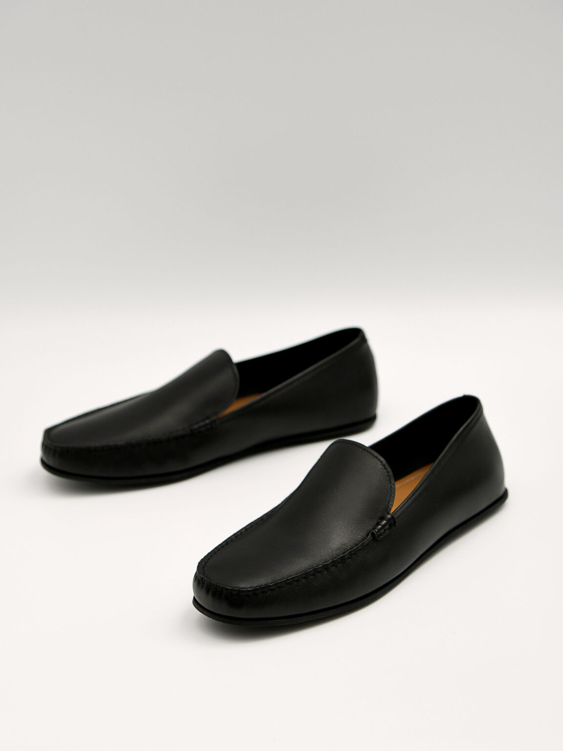 Leather Loafers, Black, hi-res