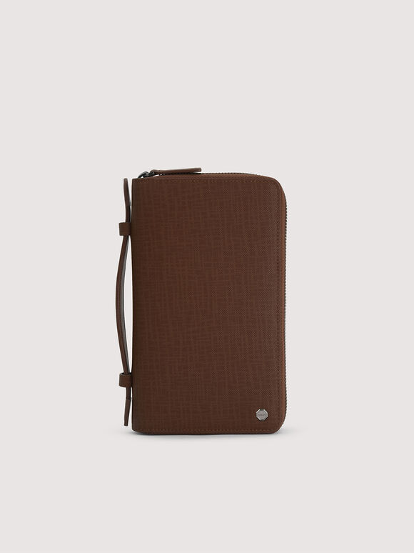Leather Zip-Around Travel Organizer, Brown, hi-res