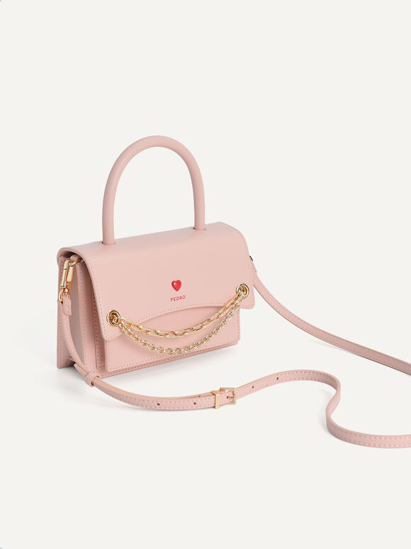 Boxy Leather Top Handle Bag, Light Pink, hi-res