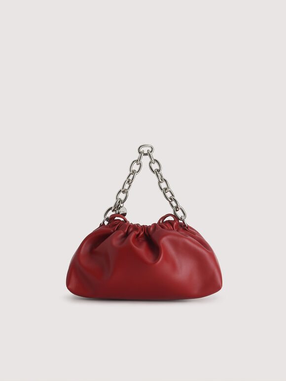 Ruched Clutch with Chain, Wine, hi-res