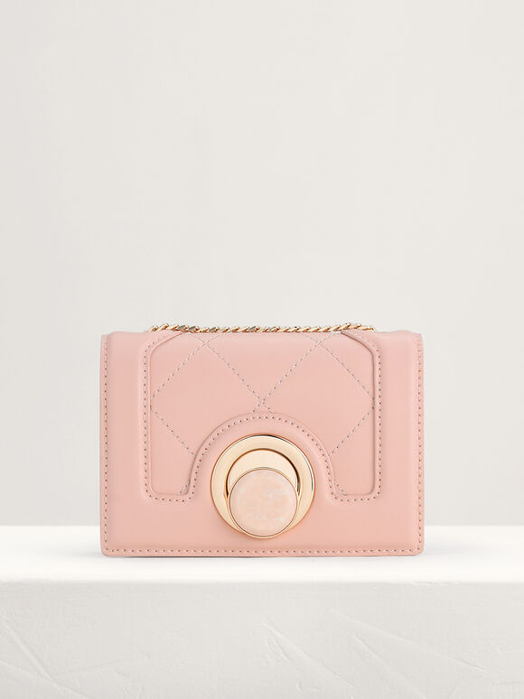 Micro Quilted Shoulder Bag, Peach, hi-res