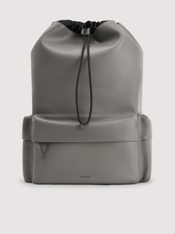 Drawstring Backpack, Grey, hi-res