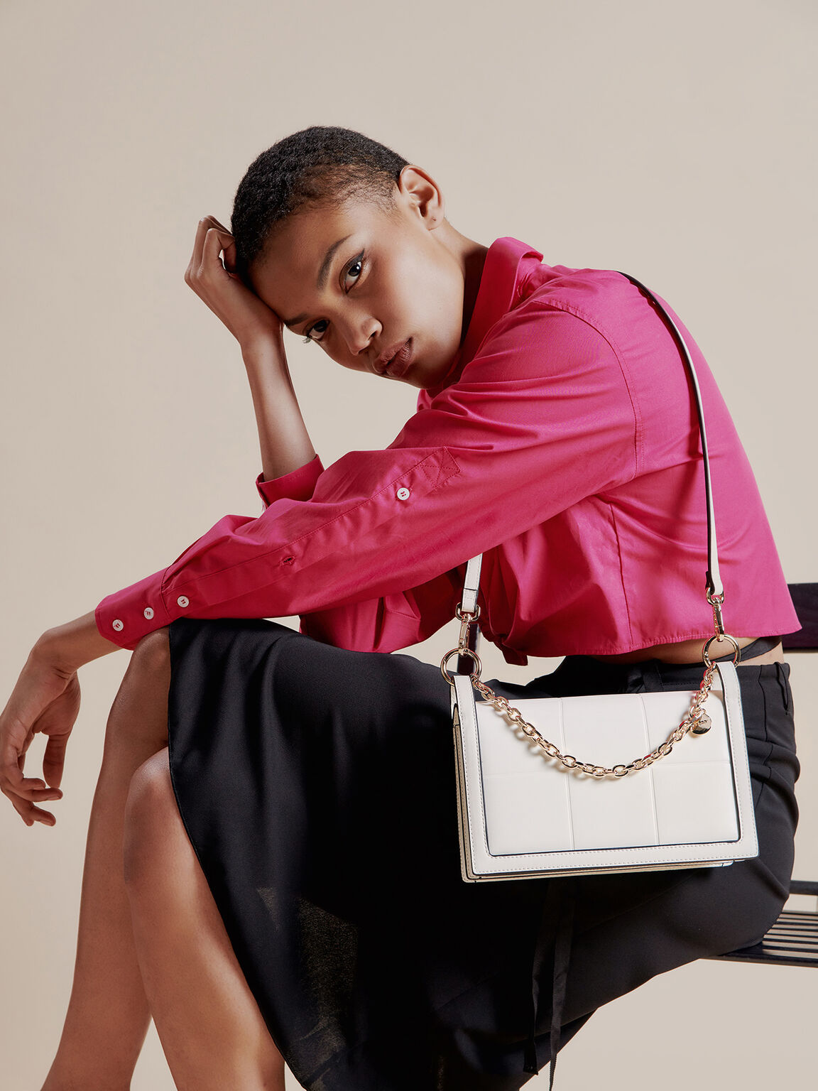 Chain Detailed Top Handle Bag, White, hi-res
