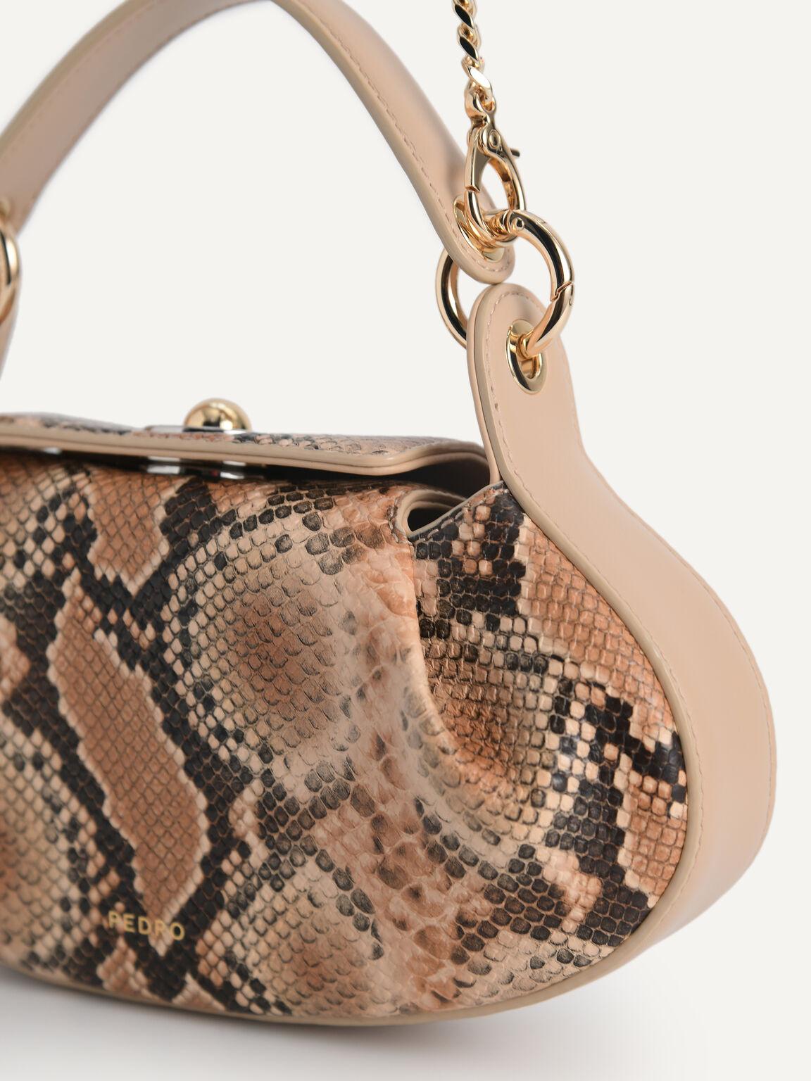 Snake-Effect Oval Shoulder Bag, Multi, hi-res