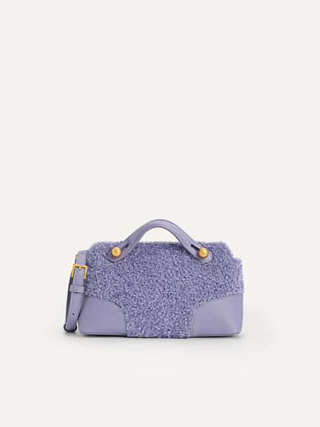 Shearling Bowling Bag, Violet, hi-res