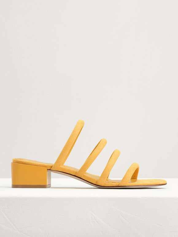 Suede Strappy Mules, Yellow, hi-res