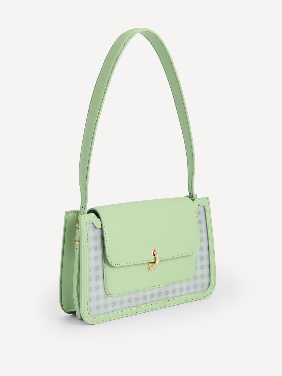 Gingham Shoulder Bag, Green, hi-res