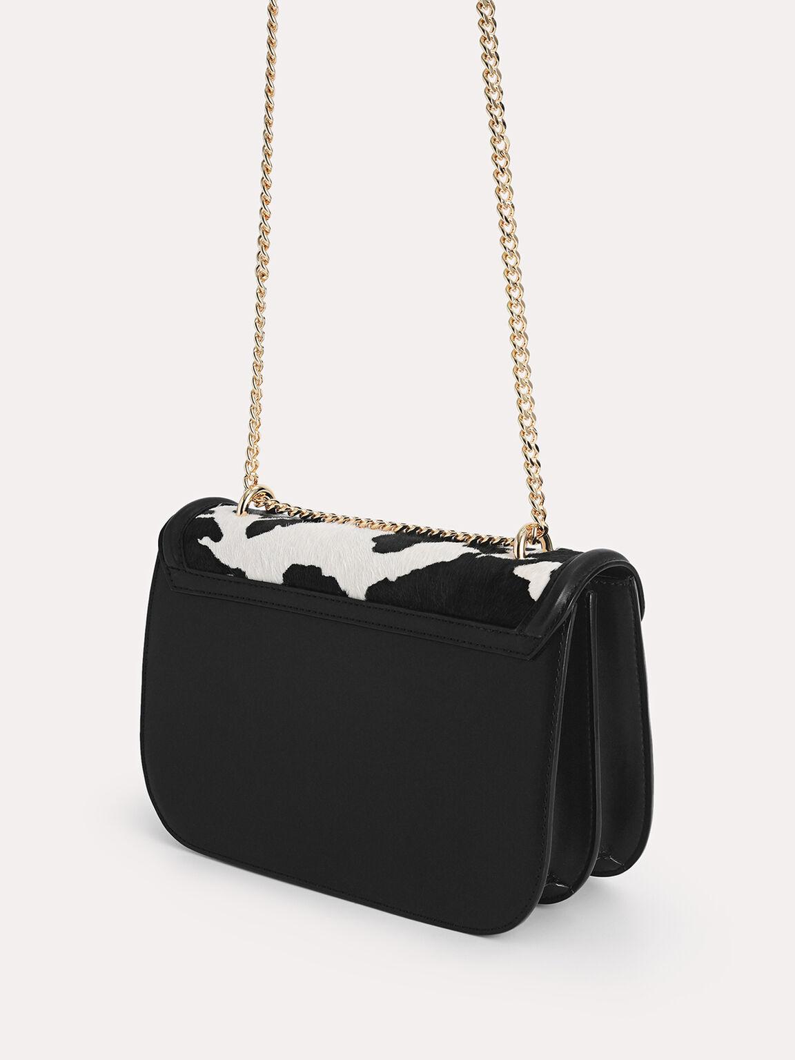 Cow-Printed Leather Shoulder Bag, Multi, hi-res