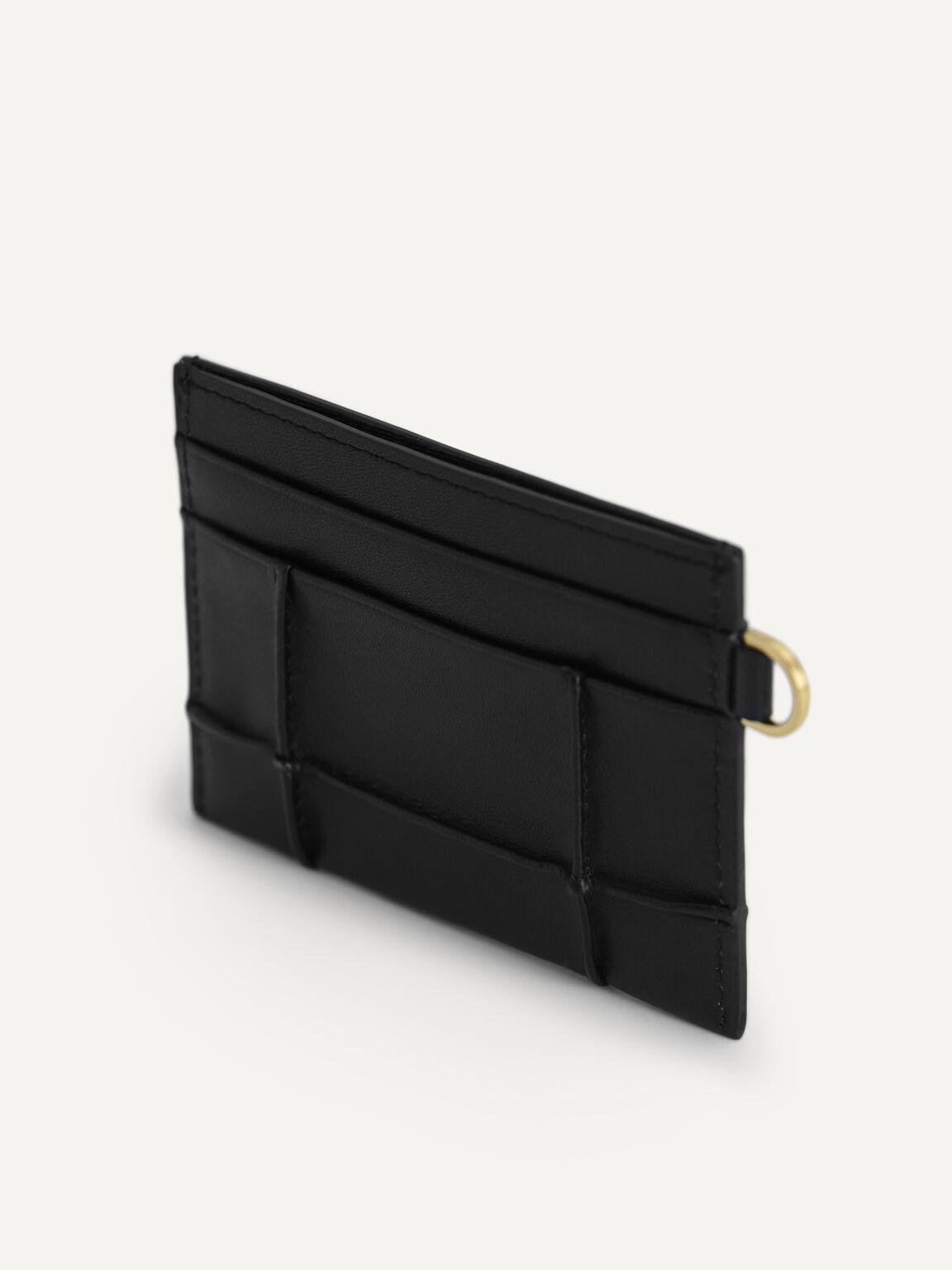 Leather Card Holder, Black, hi-res
