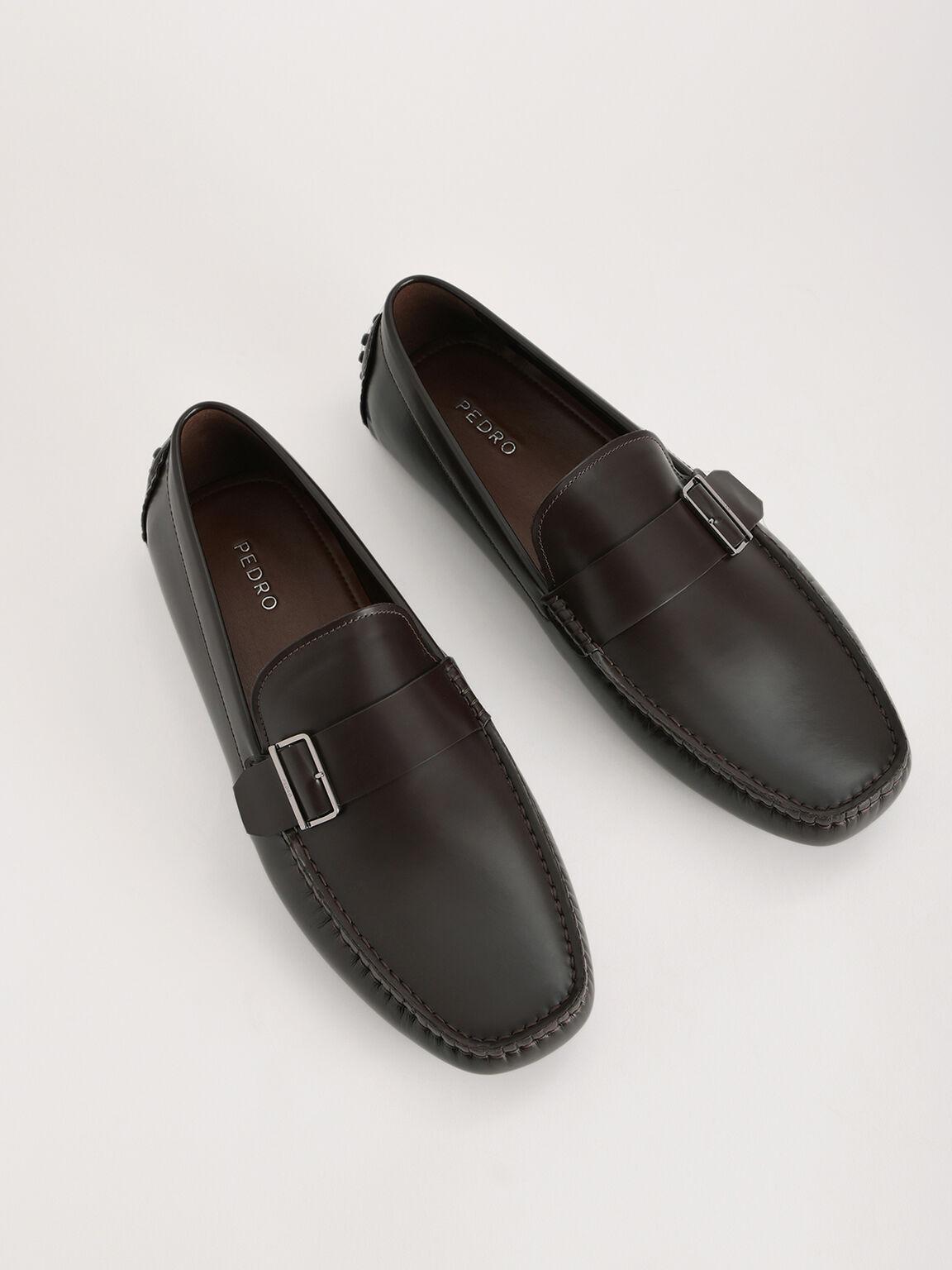 Buckled Leather Moccasin, Dark Brown, hi-res
