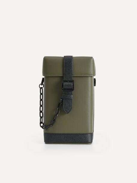 Boxy Chain Crossbody Bag, Khaki, hi-res