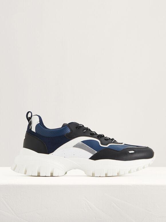 Casual Chunky Sneakers, Black, hi-res