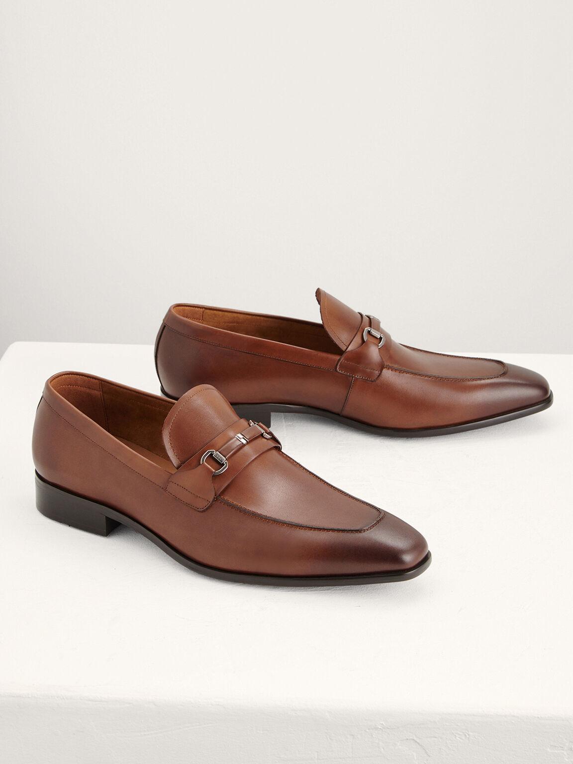 Horsebit Leather Loafers, Light Brown, hi-res