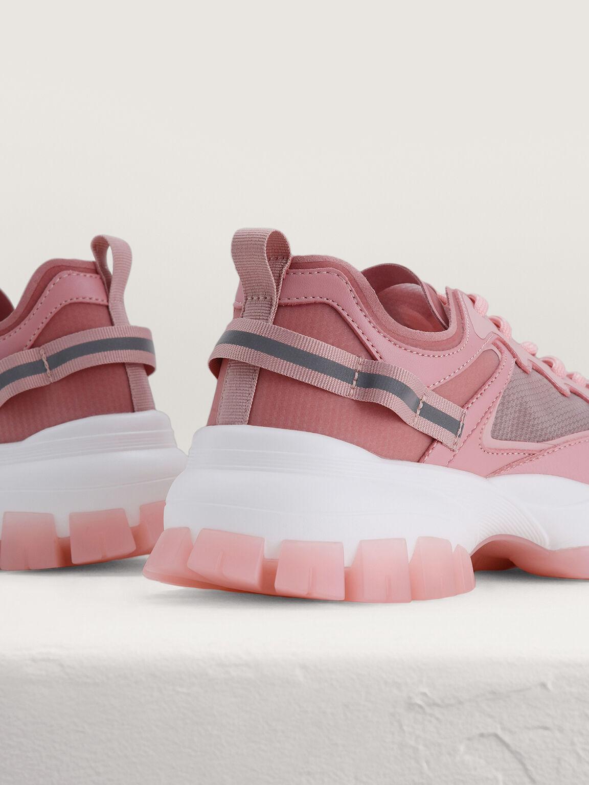 Chunky Mesh Sneakers, Pink, hi-res