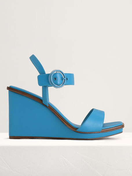 Buckle-Detailed Wedges, Turquoise, hi-res