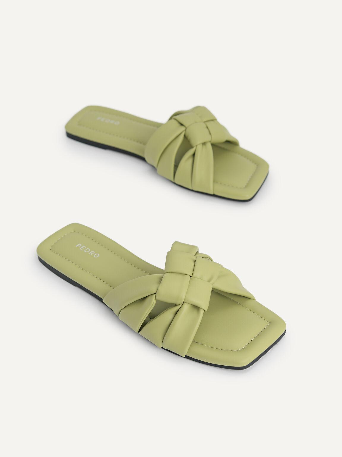 Knotted Straps Slip-On Sandals, Olive, hi-res