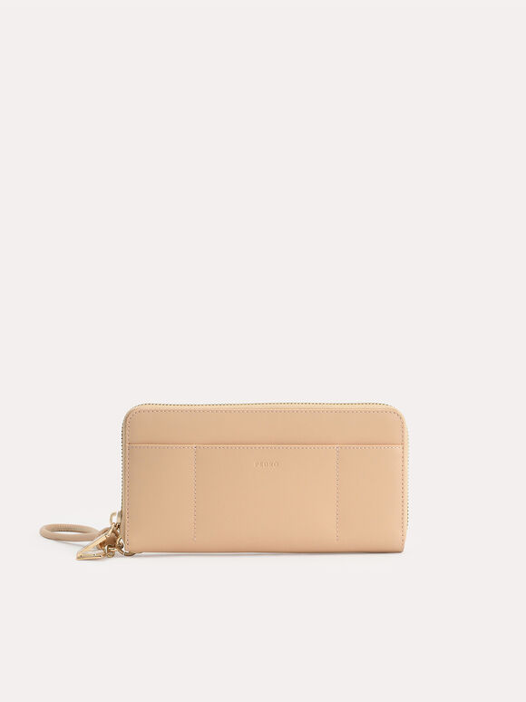 Long Leather Zip Wallet, Sand, hi-res