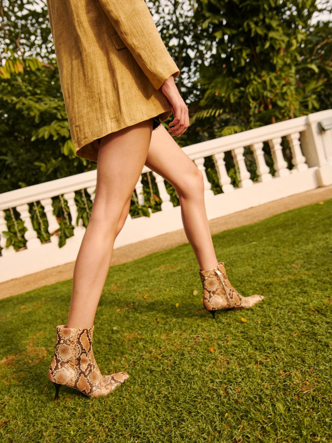 蛇紋方頭高跟及踝靴, 彩色, hi-res