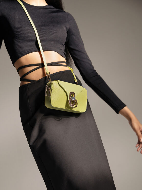 Mini Leather Shoulder Bag, Light Green, hi-res