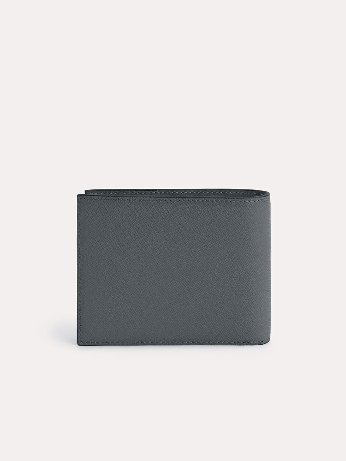 Leather Bi-Fold Wallet with Insert, Dark Grey, hi-res