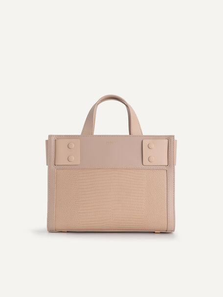 Lizard-Effect Leather Top Handle Bag, Nude, hi-res