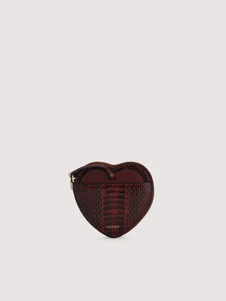 Snake-Effect Heart Coinpouch, Mahogany, hi-res