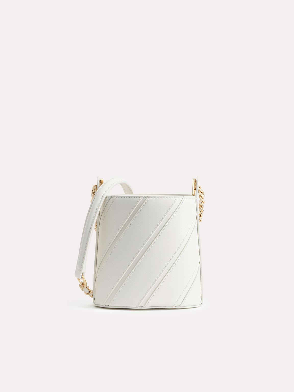 Tweed Drawstring Bucket Bag, Chalk, hi-res