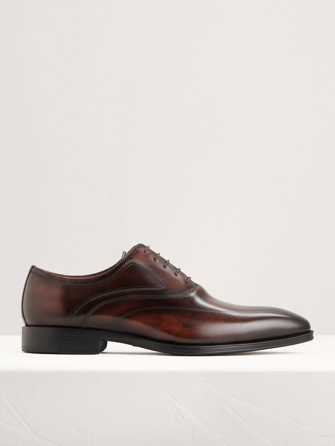 Burnished Leather Oxfords, Light Brown, hi-res