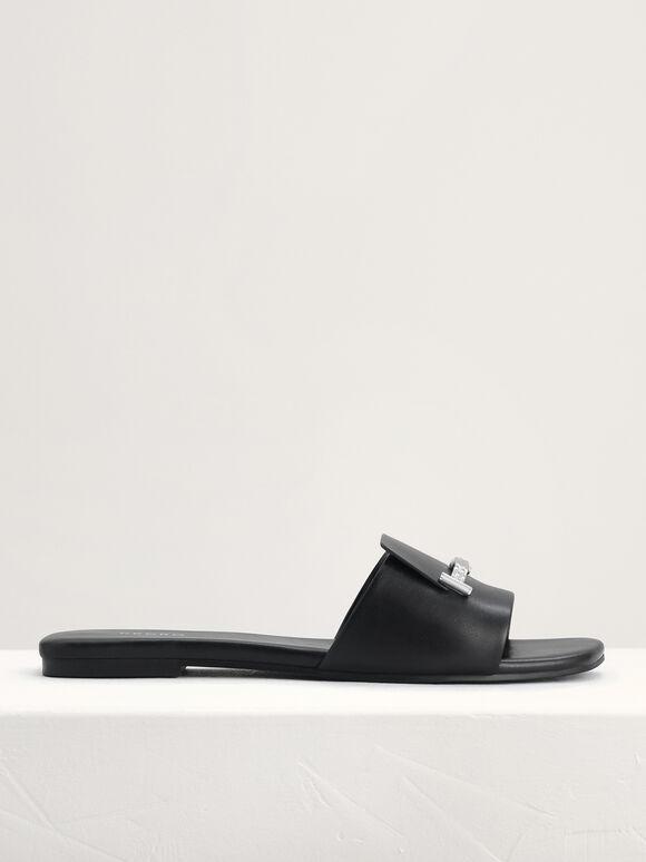 Plaque-Embellished Slides, Black, hi-res