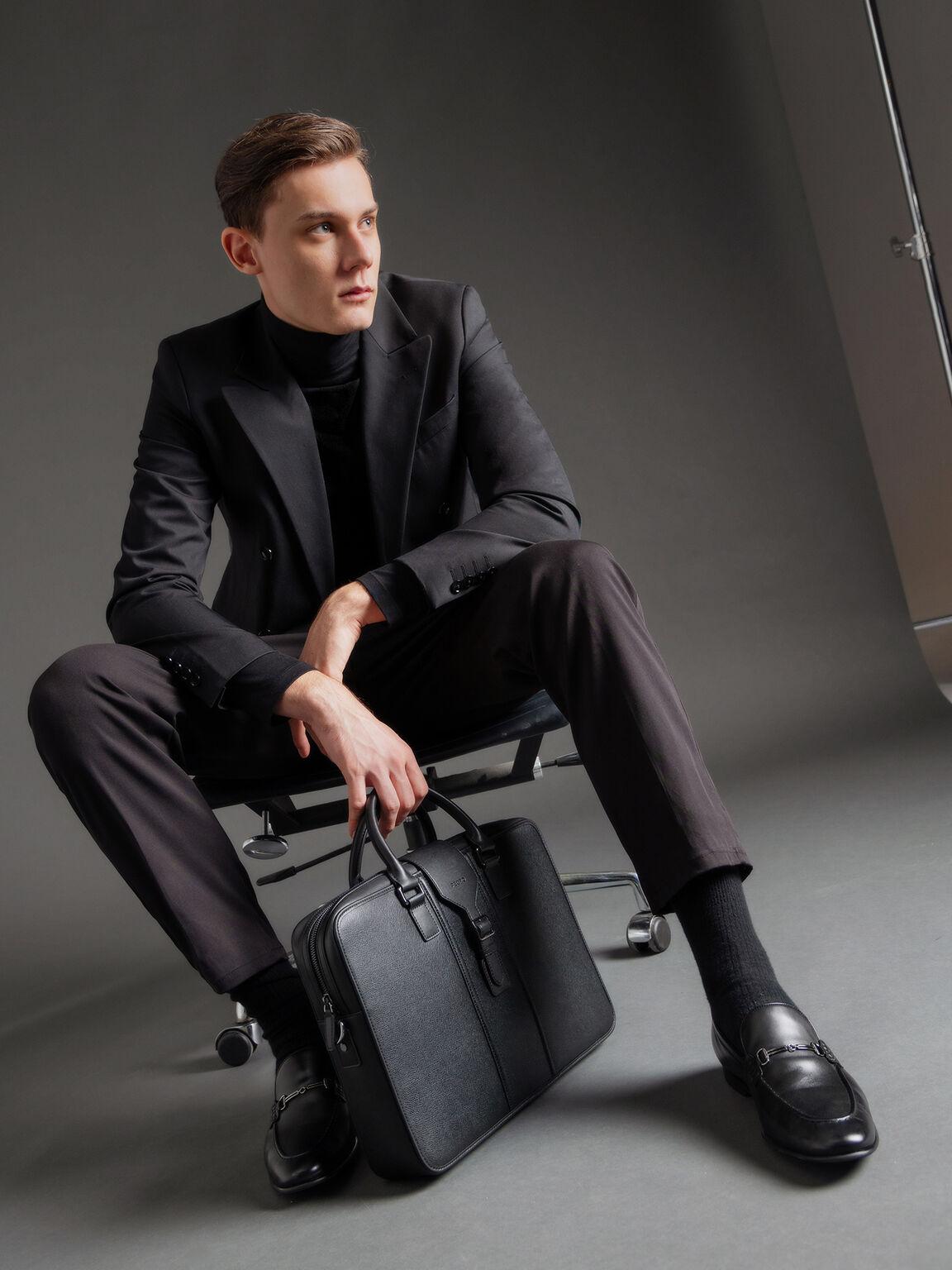 Burnished Leather Loafers with Bit Detailing, Black, hi-res