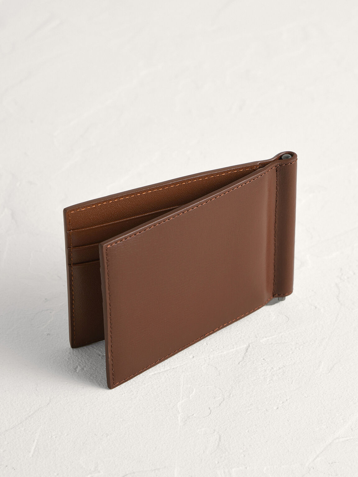 Embossed Bi-Fold Card Holder with Money Clip, Cognac, hi-res
