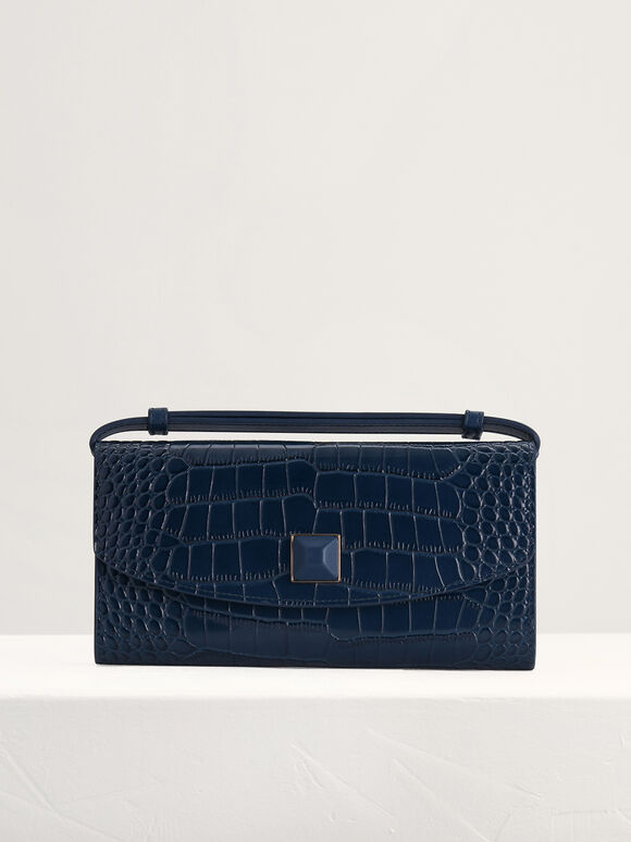 Croc-Effect Leather Wallet On Chain, Navy, hi-res