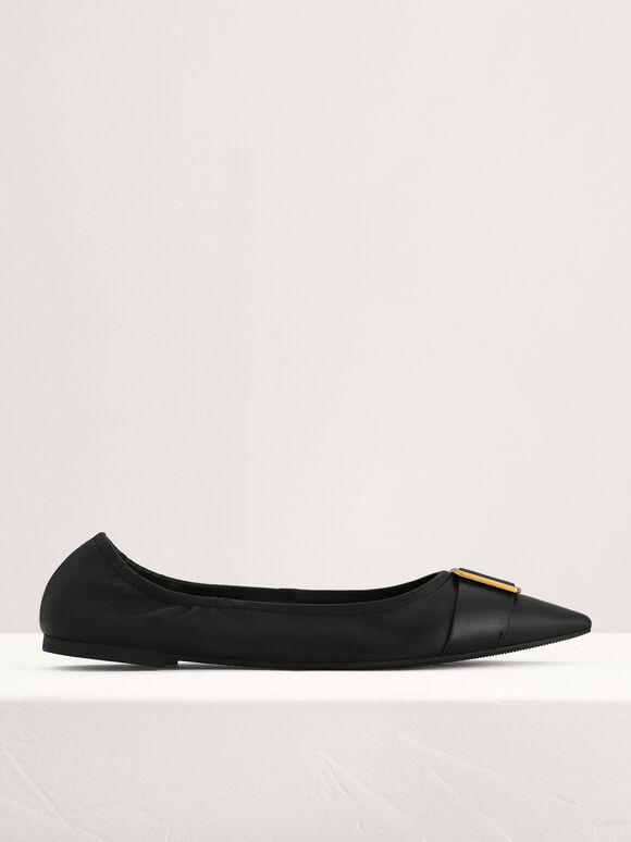 Gold Buckled Leather Flats, Black, hi-res