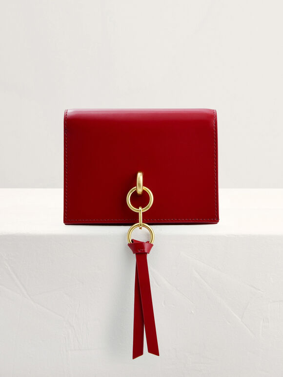 Two-Way Leather Wallet on Chain, Red, hi-res