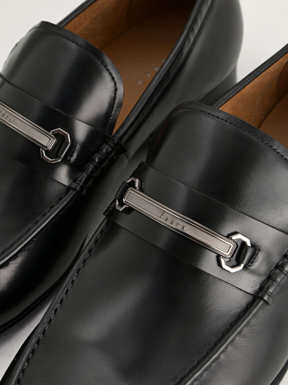 Bit Leather Loafers, Black, hi-res