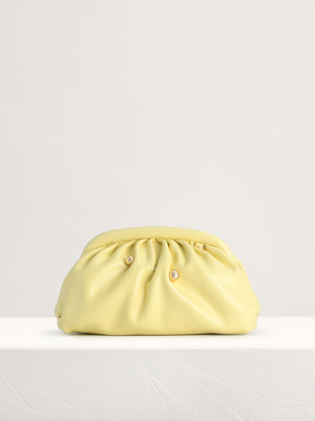 Ruched Clutch, Yellow, hi-res